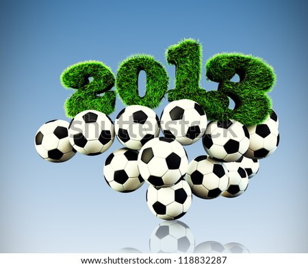 3D 2013 year render grass textured Title & footballs with sky background new sport year Football, Soccer season - stock photo