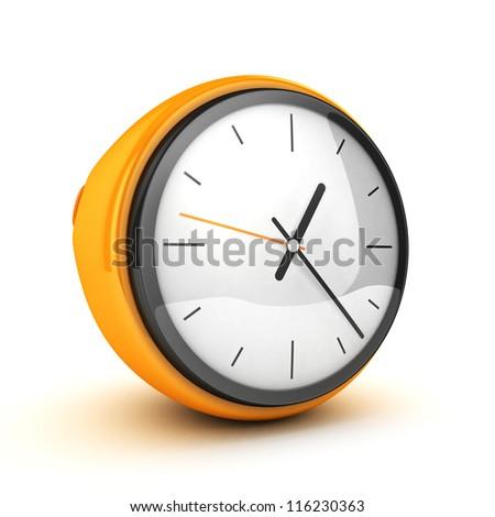 3D Yellow Clock white isolated - stock photo