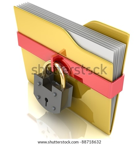 3D yellow folder and lock. Data security concept. - stock photo