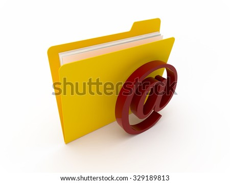 3D Yellow folder with e-mail symbol on a white background - stock photo