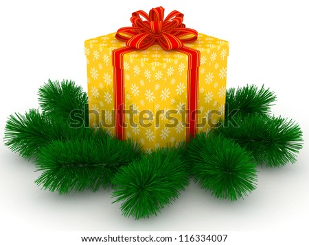 3D yellow Gift christmas box with red bow and sprigs of christmas tree on the white - stock photo