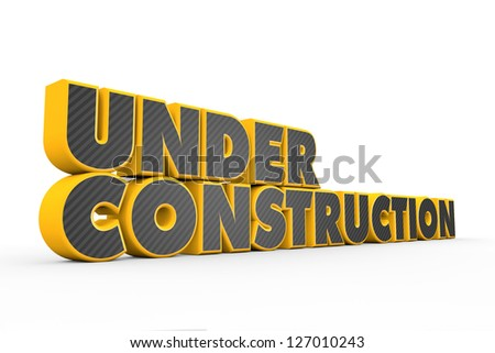 3D yellow grey Under Construction text on white - stock photo