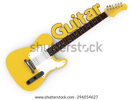 3d Yellow guitar isolated on white background with the word guitar on the mast - stock photo