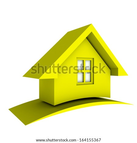 3D Yellow House  - stock photo