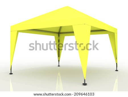 3D yellow light canopy, tent for outdoor activity and canvas, pipe structure in isolated background with work paths, clipping paths included  - stock photo