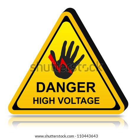 3d Yellow Triangle Danger High Voltage Sign Isolated on White Background - stock photo