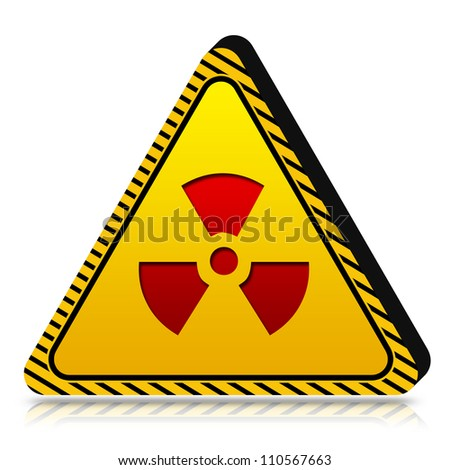 3d Yellow Triangle Under Caution or Dander Sign Isolated on White Background - stock photo