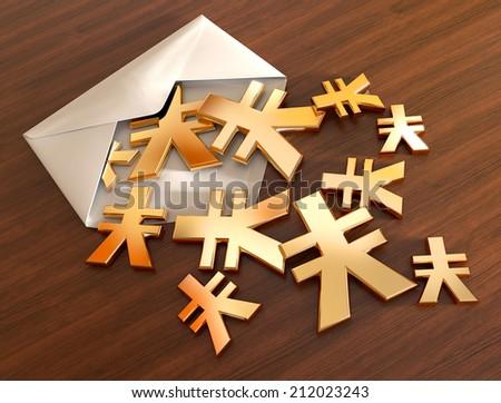 3d yen signs in envelope. - stock photo