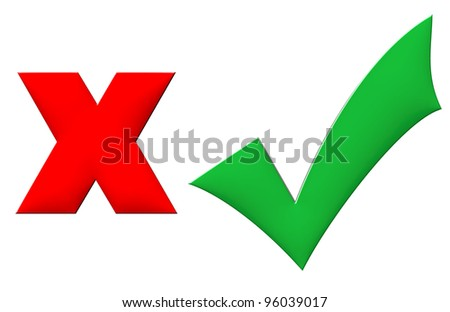 3d Yes and No symbol for vote, isolated on white background - stock photo