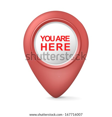 3d you are here symbol isolated white background - stock photo