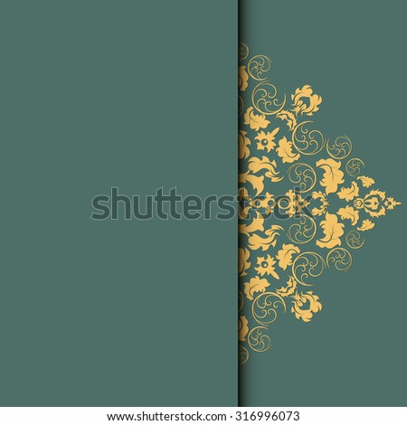 damask frame. Easy to scale and edit. Pattern is included as seamless swatch - stock photo