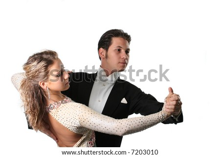 dancing couple isolated white background waltz tango - stock photo