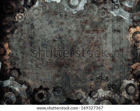 dark rusty industrial factory background frame - stock photo