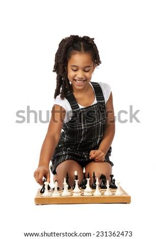 dark skin  girl playing  chess over white background - stock photo