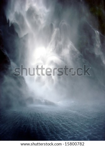 Dark waterfall - stock photo