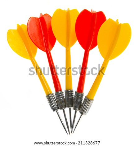 darts isolated on white  - stock photo