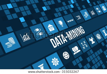 Data mining concept image with business icons and copyspace. - stock photo