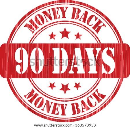 90 days money back grunge rubber stamp. - stock photo