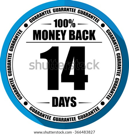 14 days Money back guarantee blue, Button, label and sign. - stock photo