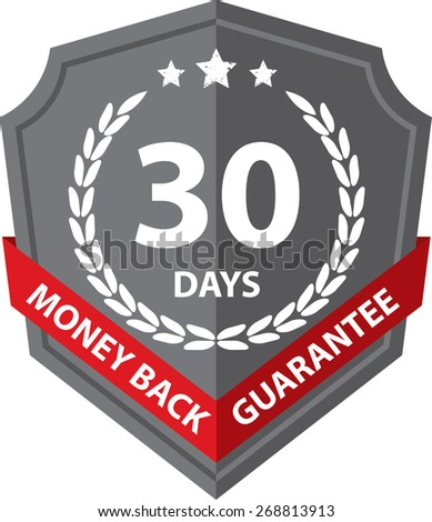 60 Days Money Back Guaranteed Label And Sticker With Gray Badge Sign, Isolated on White Background. - stock photo