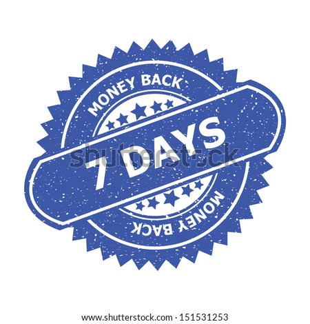 7 days rubber stamp, sticker, tag, label, sign, icon, button, symbol.-jpg format - stock photo