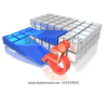 3DCG  illustration, it represents the facility with good accessibility. - stock photo