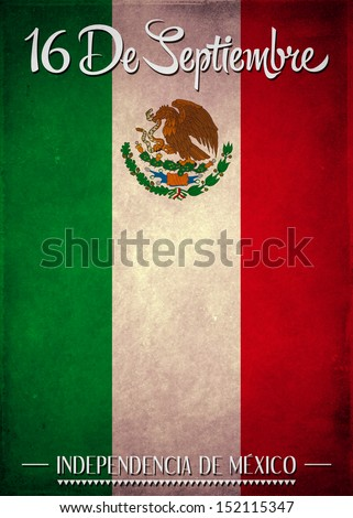 16 de Septiembre, dia de independencia de Mexico - September 16 Mexican independence day spanish text - stock photo