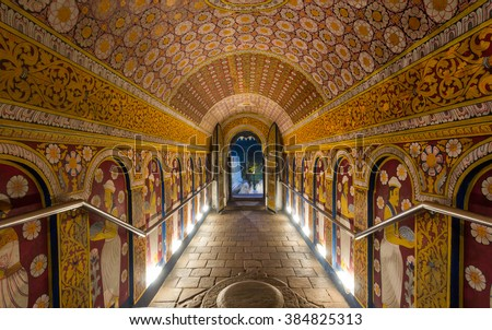 6 DEC 2013 ,Temple of the Tooth, Kandy, Sri Lanka .Temple of the Tooth is a Buddhist temple that houses the relic of the tooth of Buddha. - stock photo
