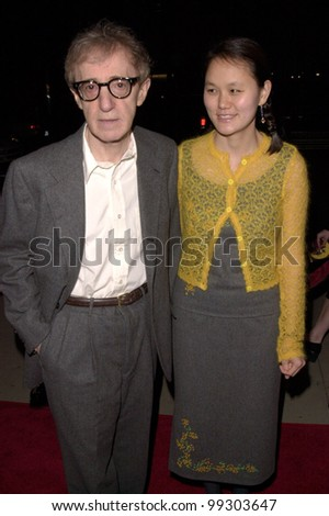 "02DEC99: Writer/director WOODY ALLEN & girlfriend SOON YI at the Los Angeles premiere of his new movie ""Sweet and Lowdown"" which stars Sean Penn. - stock photo"
