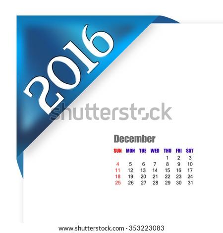 2016 December calendar - stock photo