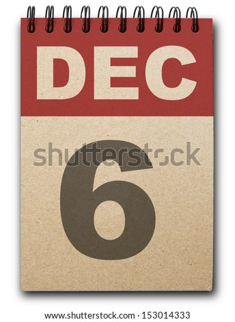6  December calendar on recycle paper - stock photo