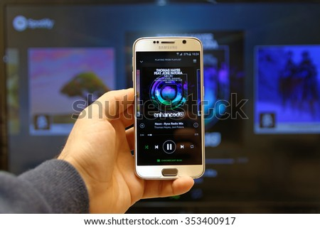 20 December 2015, Istanbul - Turkey: Spotify Swedish music service that offers legal streaming music. Was launched in October 2008. Playlist screen in Spotify mobile app. - stock photo