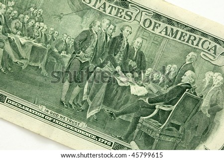 """Declaration of independence,1776"" on the back of a two dollar bill - stock photo"