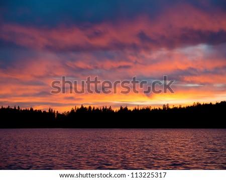 Decline on the lake in Karelia - stock photo