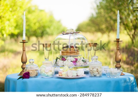 Decorations on wedding.Wedding cake. Table appointments with beautiful decor - stock photo