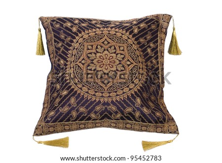 Decorative pillows on white background - stock photo