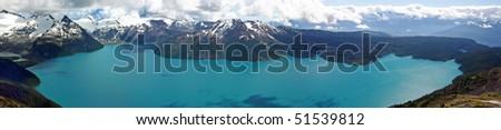 300 degree panorama bird view of garibaldi lake. - stock photo