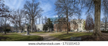 180 degree panorama of downtown area of raleigh north carolina - stock photo