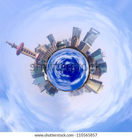 360-degree panorama of the round of the Shanghai skyline - stock photo