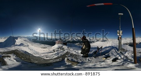 360 degree spherical panorama from the top of the Jakobshorn mountain in Davos, Switzerland. Use panocube or quicktime vr to view as an immersive sphere. - stock photo