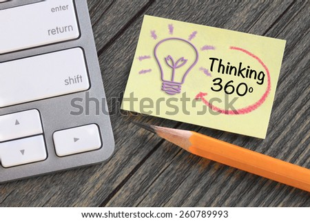 360 degree thinking concept, with desk background - stock photo