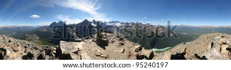 360 degree view from Mount Fairview Summit, Lake Louise, Banff National Park, Alberta, Canada - stock photo