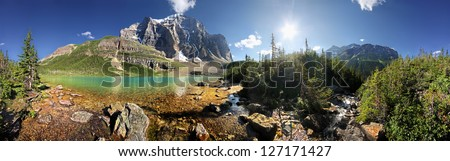 360 degree view of Lake Annette & Mount Temple in Paradise Valley Lake Louise, Banff National Park, Alberta, Canada - stock photo