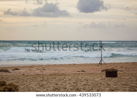 360 degrees video cameras system in filmed production in Palmahim beach in Israel at sunset. - stock photo