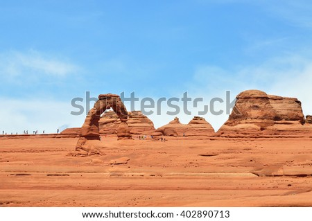 Delicate Arch Viewpoint, Arches National Park, Utah, USA - stock photo