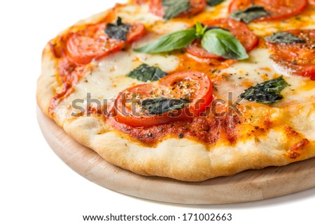 Delicious and Beautiful Margarita Pizza on a Cutting Board Isolated on White Background - stock photo