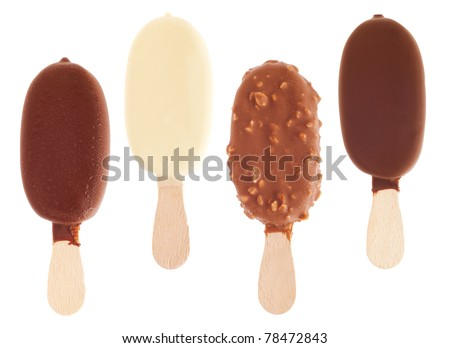 4 delicious chocolate ice creams (milk, white, almond, black) isolated on white background - stock photo