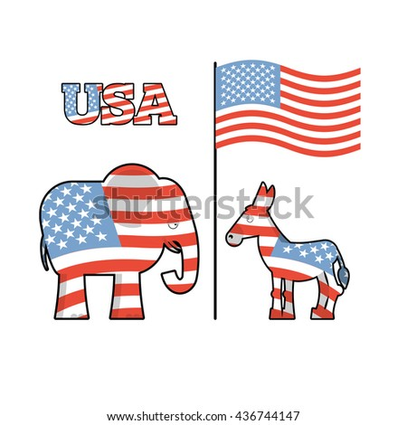Democrat Donkey and Republican Elephant opposition. Symbols of Democrats and Republicans. Political parties in United States. Illustration for election, debate in America. USA flag - stock photo