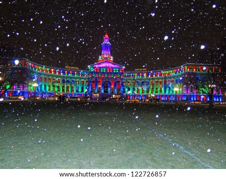 denver city and county building on christmas eve - stock photo