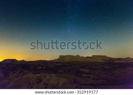 desert landscape of Navarra in night. Spain - stock photo